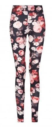 Flores en un leggings de mujer otoño invierno