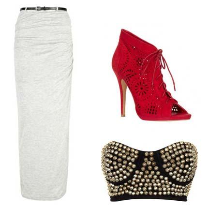 Zapatos de tacón, falda larga y bustier