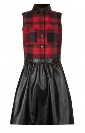 Vestido escoces con falda cuero