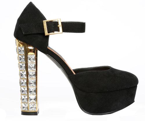 Zapatos elegantes de mujer con cristales en el tacon