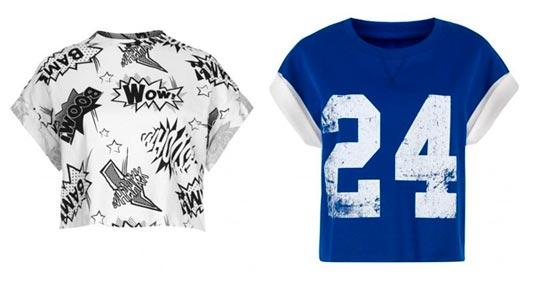 Cortas camisetas de mujer estampadas