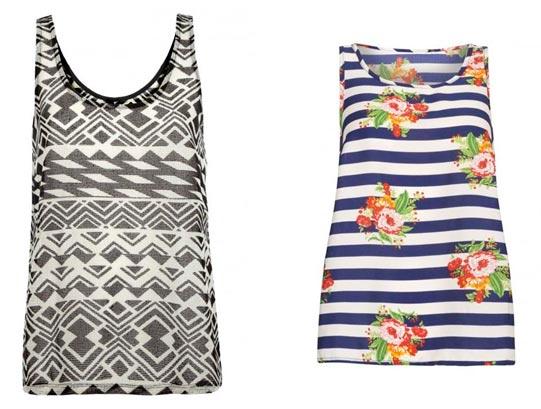 Camisetas floreadas y diseños en negro y blanco