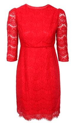 Vestido manga tres cuartos rojo