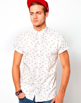 Camisa de hombe colorida manga corta