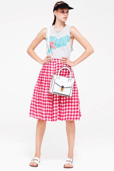 Falda estampado cuadros color rosa