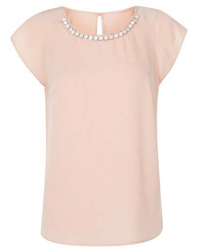 Rosada Blusa con piedras en cuello