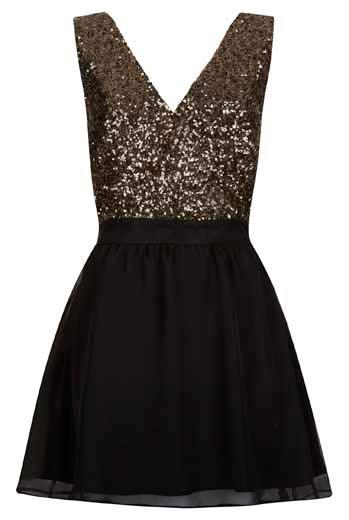 Negro con vestidos brillantes