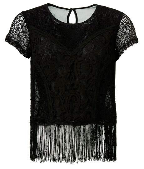 Diseño de blusa negra con flecos
