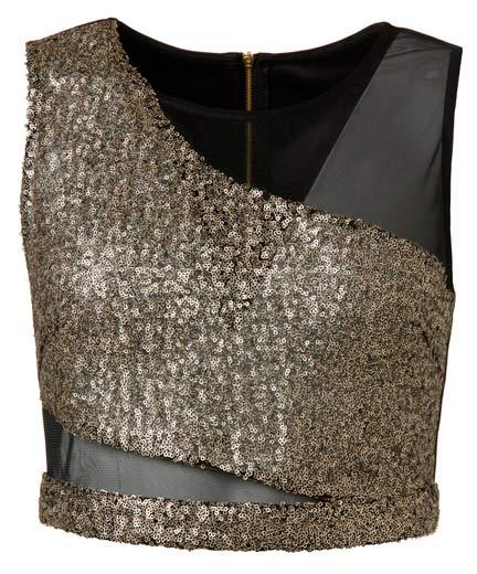 Blusa en negro con diseños brillantes