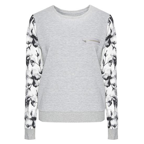Elegante jersey gris con mangas floreadas