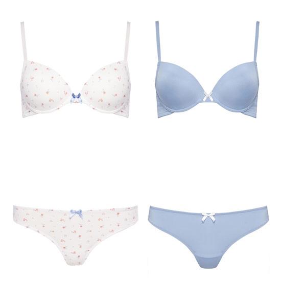 doble conjunto primark lenceria blanco y azul en oferta