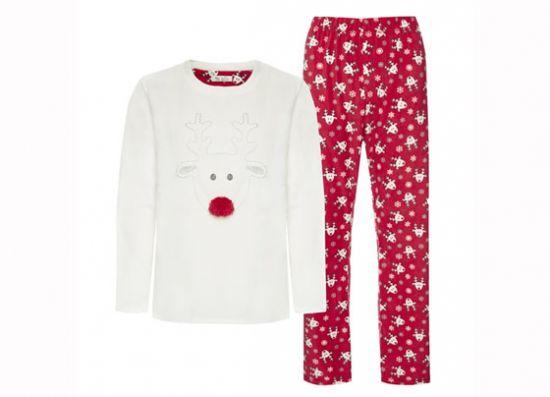 Pijama afelpado blanco y rojo con renos