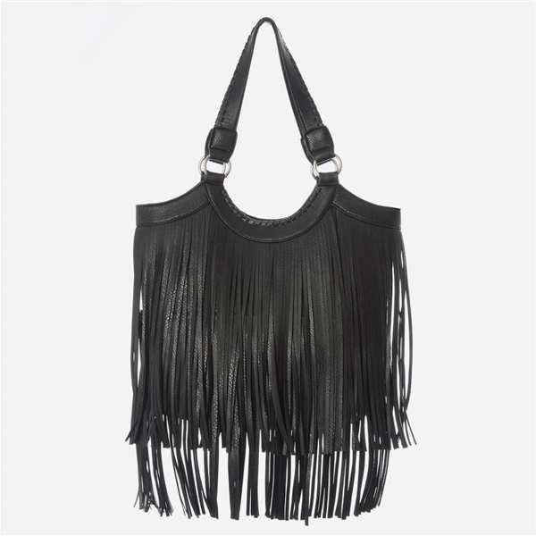 Bolso Primark shopper negro con flecos 15 €