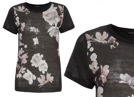 Primark camiseta negra floreada