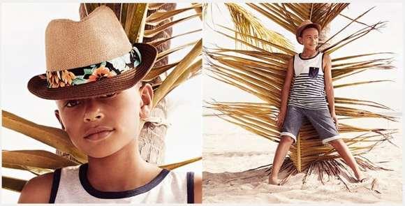 Camiseta Primark a rayas con bolsillo, pantalón corto con dobladillo, sombrero de paja