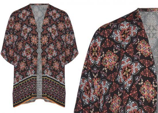 Kimono Primark estampado rojo y negro