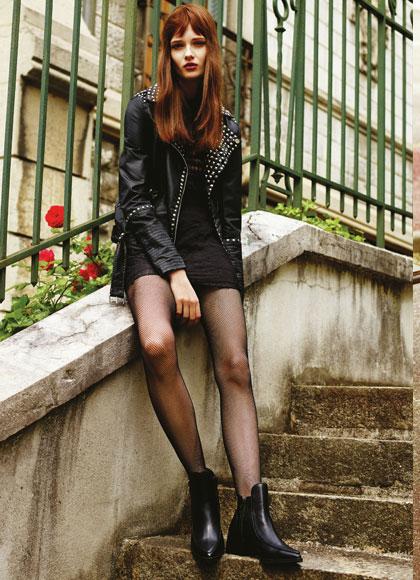 Corto vestido negro con chaqueta