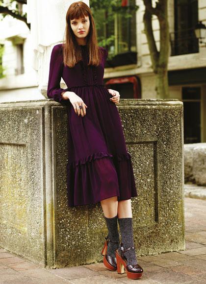 Vestido púrpura de mujer
