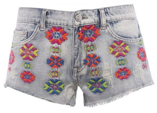 Short de mujer flores de jean