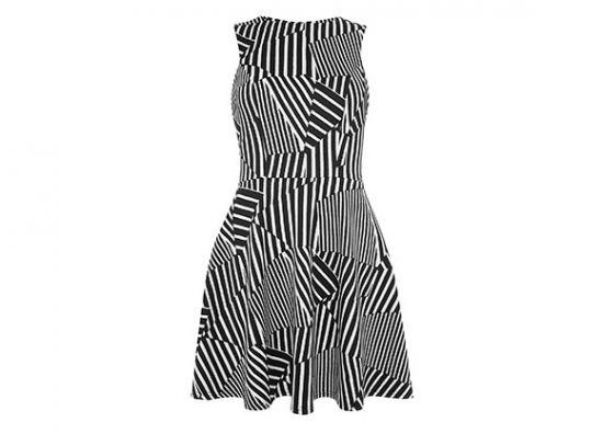 vestido con líneas cruzadas