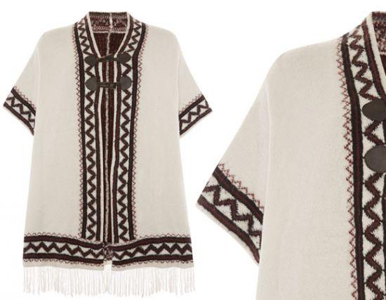 Elegante poncho Primark con diseños tribales