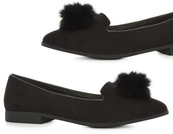Zapato negro con pompón Primark