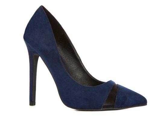 zapatos de tacón en color azul de gamuza