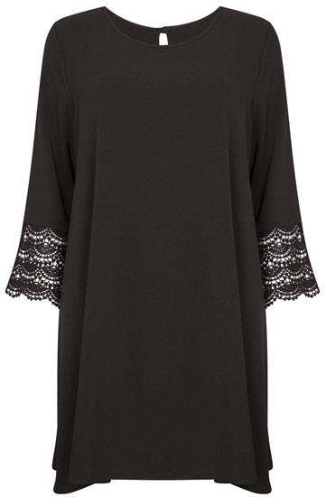Vestido Primark en negro con mangas crochet