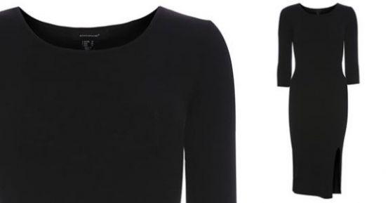 Vestido de punto largo en negro
