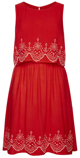 Vestido de mujer rojo con estampado