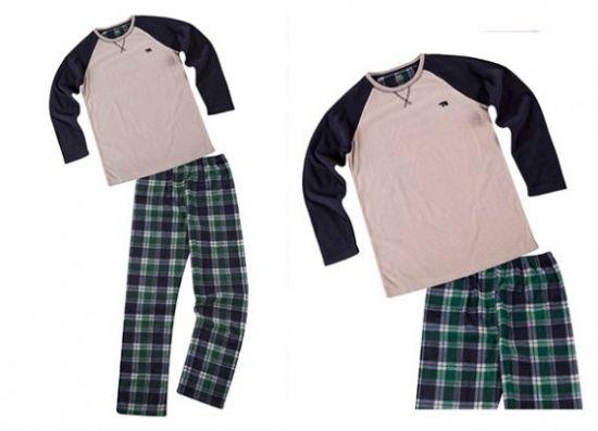 Pijama azul y verde de manga raglán