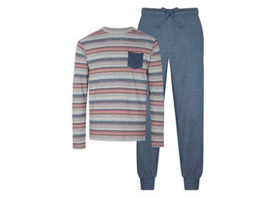 Pijama azul y gris a rayas