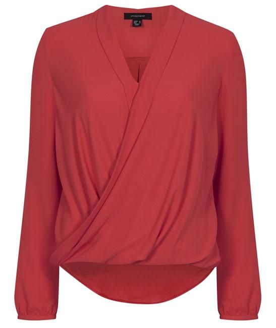 Primark blusa cruzada roja