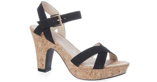 sandalias de tacón negras