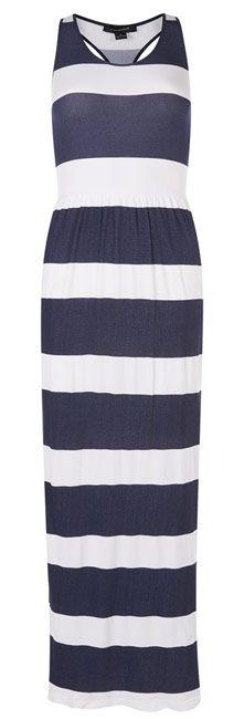 Vestido largo azul con rayas blancas