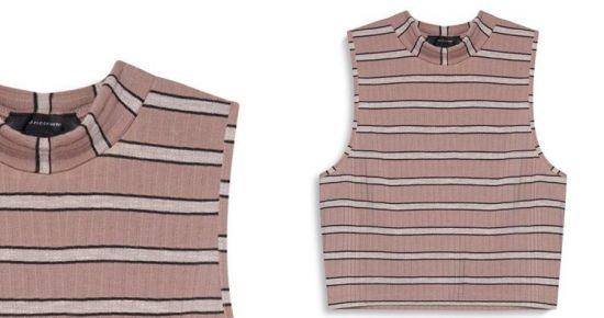 camiseta sin mangas rayada rosa y blanco
