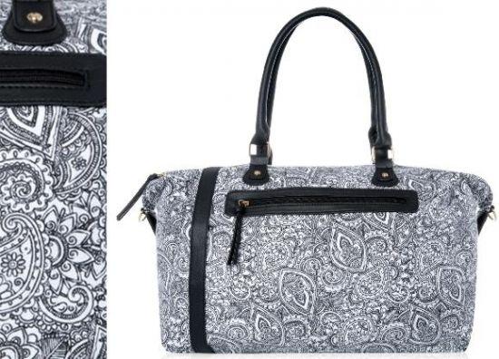 Bolsos de tela para viaje Primark de mujer estampado en blanco y Negro