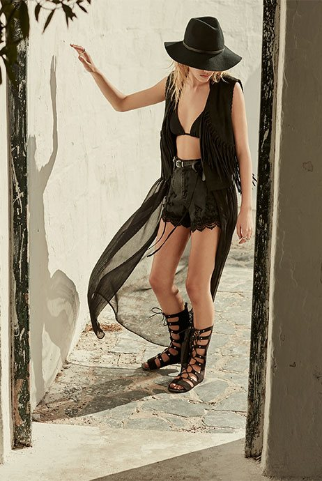 Falda vestido transparente negro