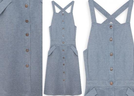 Vestido largo azul con botones en Primark
