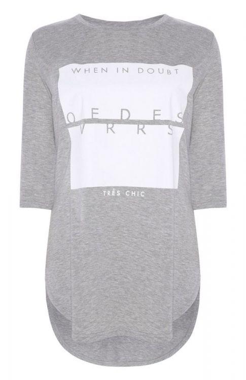 camiseta larga gris