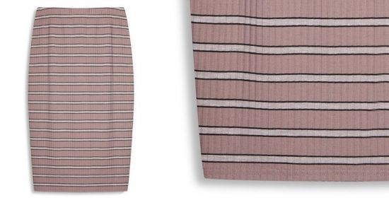 falda acanalada a rayas rosa y blanco