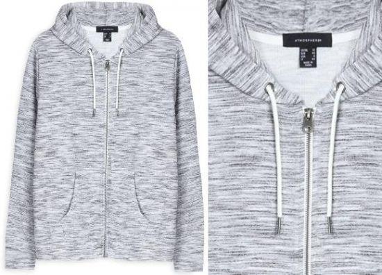Sudadera gris estampada con capucha y cremallera