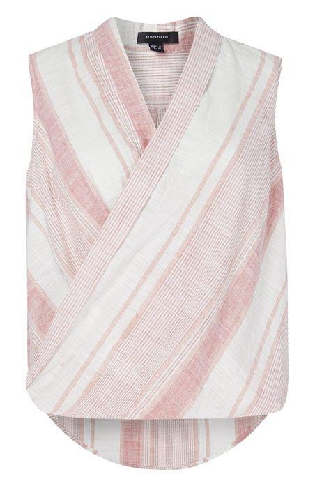 camisa sin mangas cruzada rosa y blanco