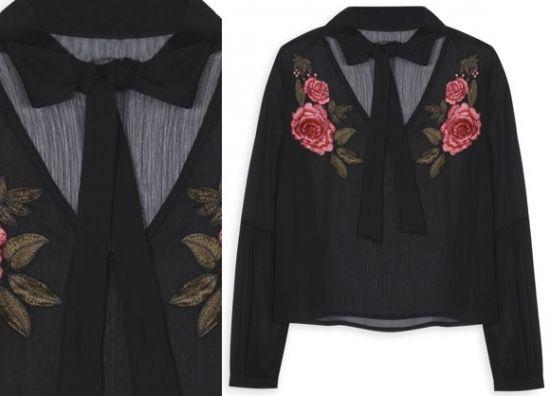 Comprar blusa bordada con lazo al cuello