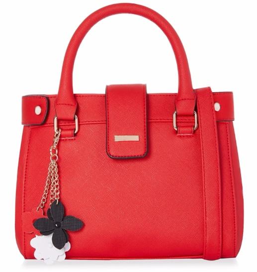 Bolso tote rojo con llavero pequeño