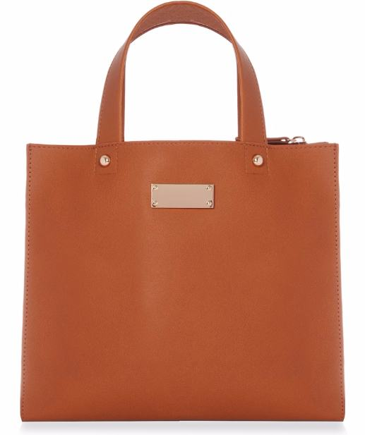 Bolso tote minimalista color canela 12,00€