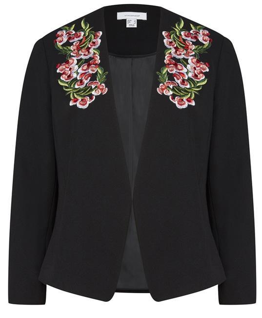 Chaqueta americana negra bordada flores