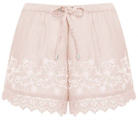 Short de cintura alta en suave color rosa