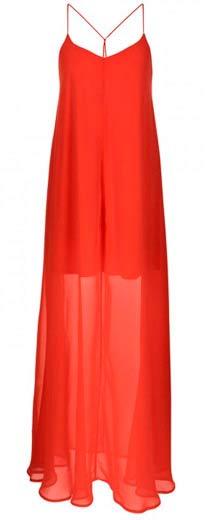 vestido rojo con trasparencia