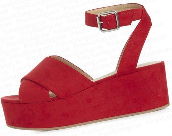 sandalias de cuñas rojas